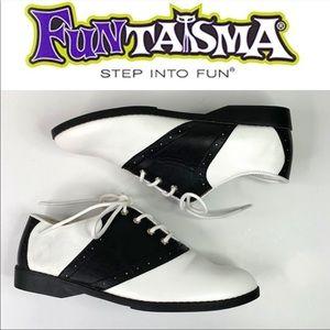 Funtasma 1950's Retro Saddle Shoes Black White